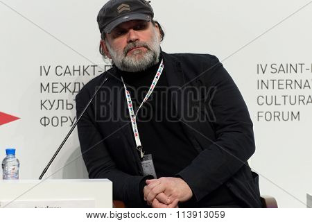 ST. PETERSBURG, RUSSIA - DECEMBER 16, 2015: Artistic Director of Tovstonogov Russian State Academic Bolshoi Drama Theater Andrey Moguchy during 4th St. Petersburg International Cultural Forum