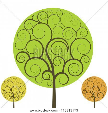 Swirly tree vector shape isolated on white background.