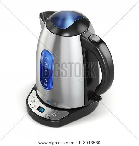 Stainless electric kettle isolated on white. 3d
