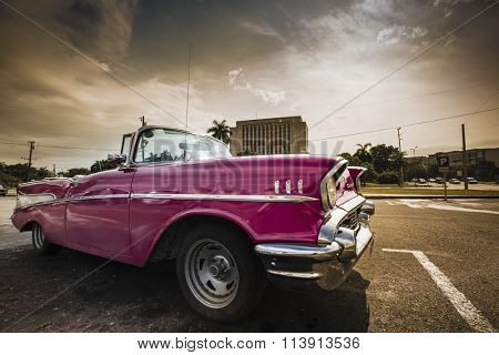 HAVANA, CUBA - JANUARY 10: Classic/Vintage Car on January 10, 2016 in Havana, Cuba. Due to the new diplomatic relationship with the USA, more and more of these cars disappear from cuban streets.