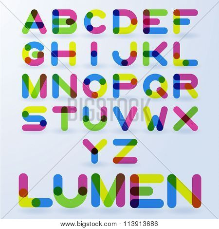 Vector abstract transparent rainbow alphabet
