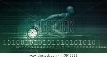 Man Racing on a Technology Background as Art