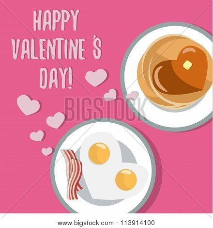 Romantic breakfast. Beautiful flat vector card for Valentine Day. Heart shaped fried eggs and pancak