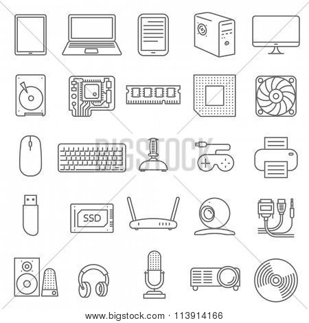 Thin line computer shop and service and parts  vector icon set.