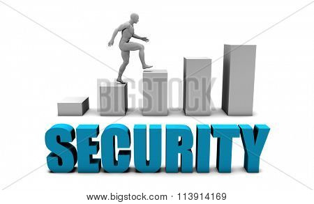 Security 3D Concept  in Blue with Bar Chart Graph