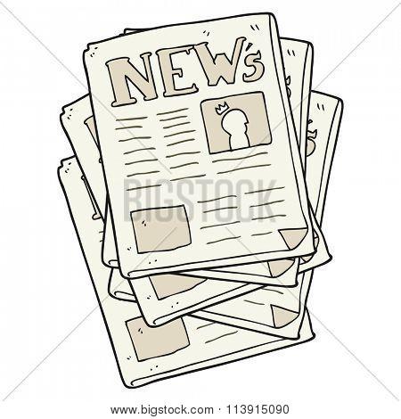 freehand drawn cartoon newspaper