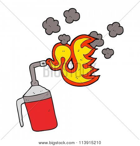 freehand drawn cartoon blow torch