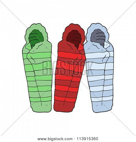 freehand drawn cartoon sleeping bags