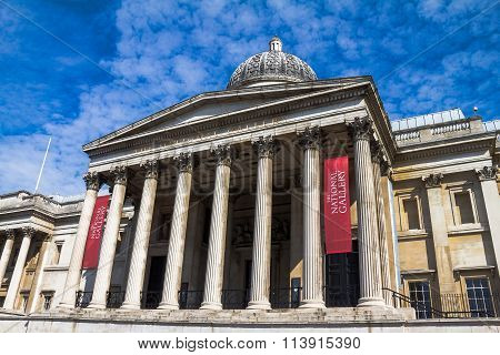 National Gallery In Trafalgar Square, London . Uk