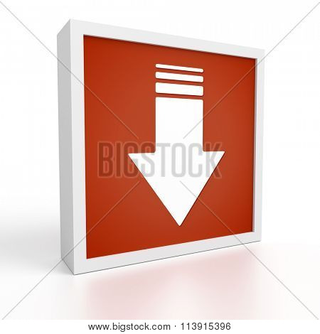 An image of a red download symbol