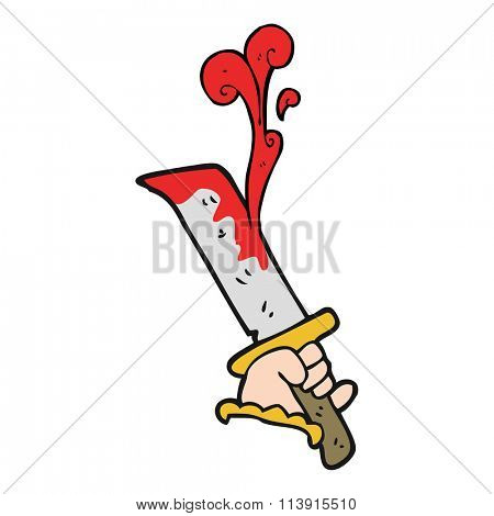 freehand drawn cartoon hand with bloody dagger