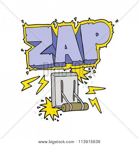 freehand drawn cartoon electrical switch zapping