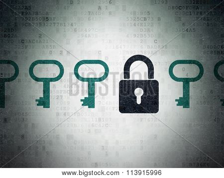 Protection concept: closed padlock icon on Digital Paper background