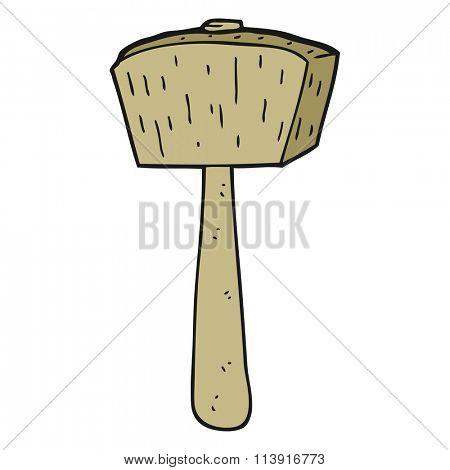 freehand drawn cartoon wooden mallet