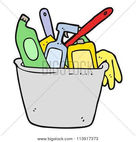 cleaning products freehand drawn cartoon
