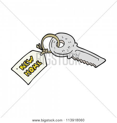 freehand drawn cartoon house key with new home tag