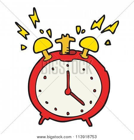 freehand drawn cartoon ringing alarm clock