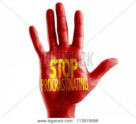 Stop Procrastinating written on hand isolated on white background