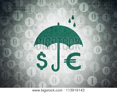 Safety concept: Money And Umbrella on Digital Paper background