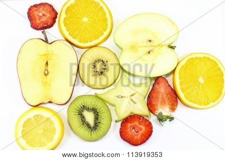 Apple Kiwi Star Fruit Orange Lemon Strawberry Slice