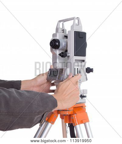 Hand Working With Survey Equipment Theodolite