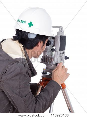 Engineer Working With Survey Equipment Theodolite