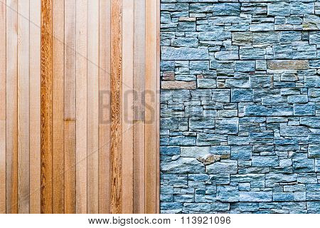 Wood and Stone Wall Background Texture