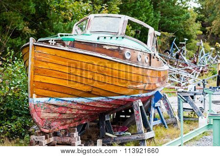Beautiful Old Wooden Boat in Dry Dock