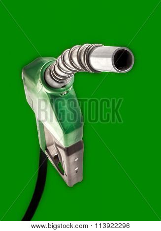 Green gas nozzle on green background