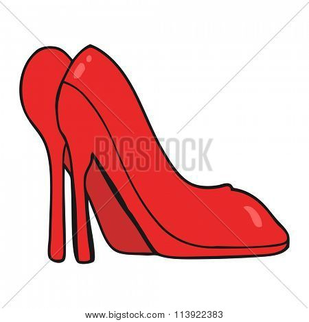 freehand drawn cartoon high heel shoes