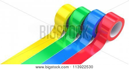 Four rolls of colored adhesive tape isolated on white background