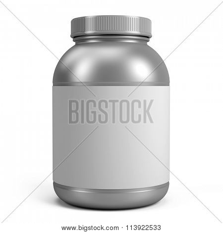 Silver Can of protein or gainer powder with blank label isolated on white background