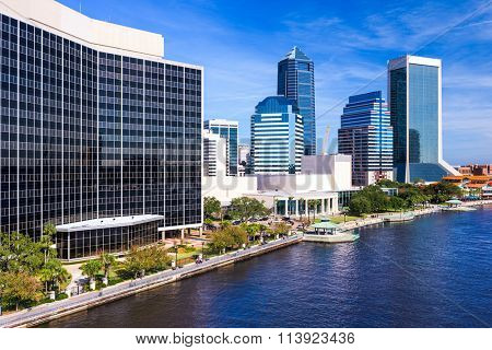 Jacksonville, Florida, USA downtown city skyline on St. Johns River.