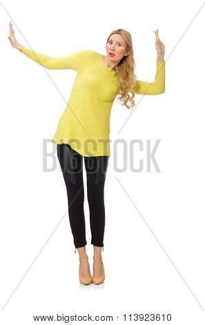 Pretty young woman in yellow blouse isolated on white