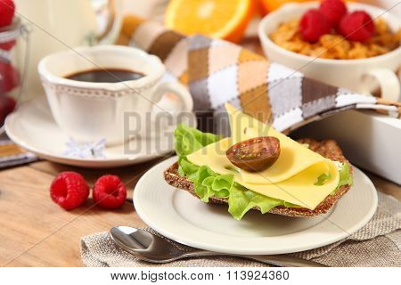healthy breakfast with sandwich