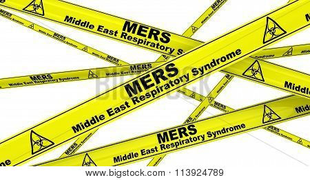 MERS. Middle East Respiratory Syndrome. Yellow warning tapes
