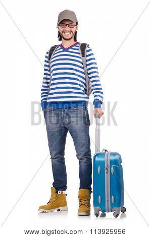 Young traveller with travel case isolated on white