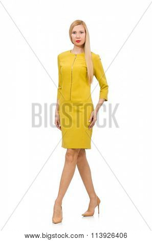 Pretty girl in yellow dress isolated on white
