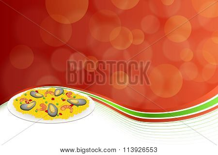 Abstract background food paella rice peas pepper shrimp mussel green red frame illustration vector