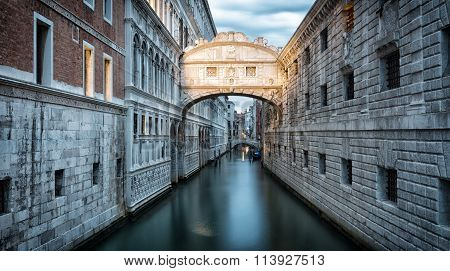 Ponte Dei Sospiri In Venice Early In The Morning Before Sunrise