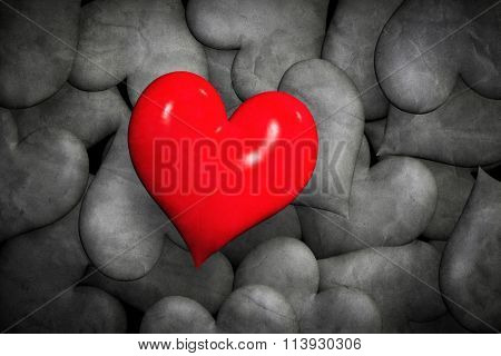 Find love concept. Lonely red hearts among many black and white ones. Valentine's day design.