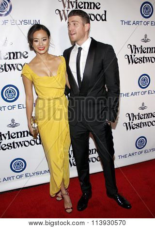 Jamie Chung and Bryan Greenberg at the Art Of Elysium's 9th Annual Heaven Gala held at the 3LABS in Culver City, USA on January 9, 2016.