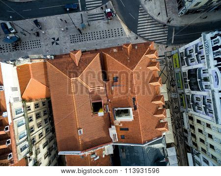 LISBON, PORTUGAL - CIRCA DECEMBER 2015: Top View of Roofs