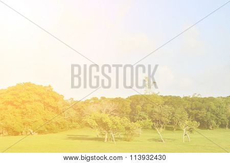 Beautiful countryside lanscape under sky.