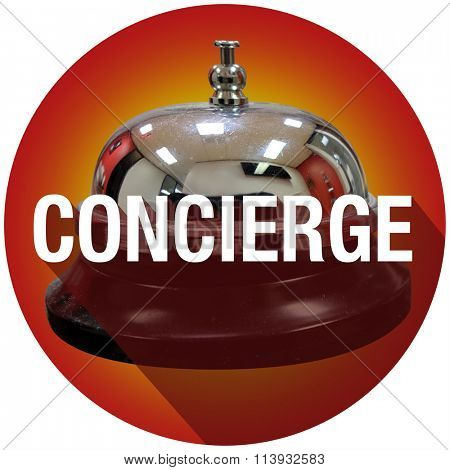 Concierge word with long shadow over a bell to ring for help, support or assistance