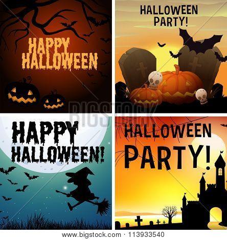 Four happy halloween poster design illustration