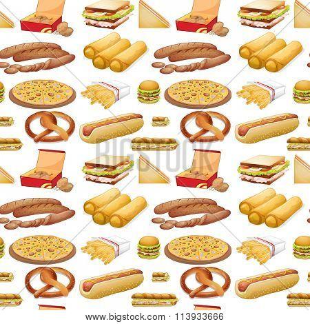 Seamless different kind of fastfood illustration