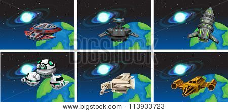 Spaceships floating in the space  illustration