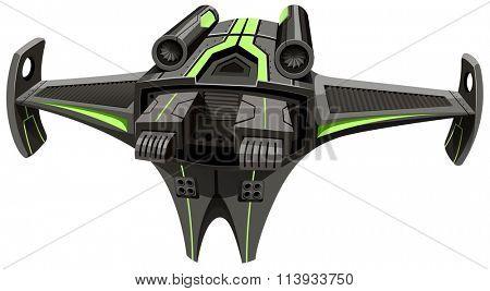 Modern design spaceship on white illustration