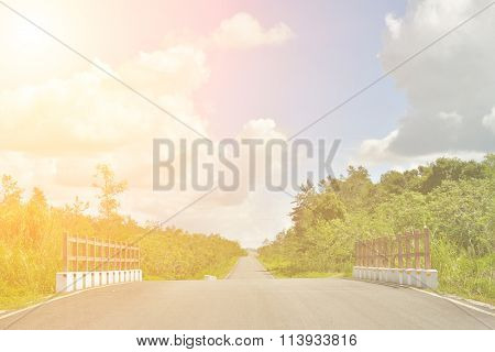 Rural landscape with road in daytime, Hualien, Taiwan, Asia.